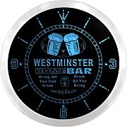 ncp2301-b WESTMINSTER Home Bar Beer Pub LED Neon Sign Wall Clock Uhr Leuchtuhr/ Leuchtende Wanduhr