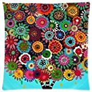 "Produktbild: NicholasCGShopOnline C5009F Cotton Linen Decorative Throw Pillow Case Cushion Cover Mexican Style Tree Flower Floral 18 ""X18 """