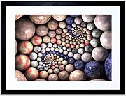 PAINTING DIGITAL STONE ORBS MARBLE FRACTAL DESIGN FRAMED ART PRINT F12X10186