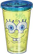 Plastik Becher-Spongebob-Big Happy Trinkbecher mit Strohhalm 08606