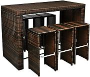 produktbild polyrattan barset tisch 6 barhocker rattan. Black Bedroom Furniture Sets. Home Design Ideas