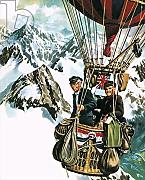 "Poster-Bild 70 x 90 cm: ""Gerry Turnbull and Tom Sage fly a balloon at 10,000 feet across the Alps"", Bild auf Poster"