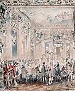 "Poster-Bild 80 x 90 cm: ""Feast given by Madame du Barry (1743-93) for Louis XV on 2nd September 1771 at the inauguration of the Pavillon at Louveciennes, 1771 (pen & ink and w/c on paper)"", Bild auf Poster"