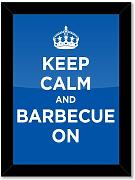 Poster gerahmt Kunstdruck: Keep Calm and Grill On Blau Marineblau Azur WW2 WWII Parody Sign (A3–29,7 x 42 cm/29,7 x 41,9 cm, Glossy Fotopapier, schwarzer Holzrahmen, fertig zum Aufhängen)