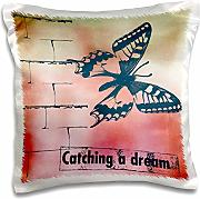 Produktbild: PS Inspirations - Catching a Dream Butterfly inspirational art - 16x16 inch Pillow Case (pc_110448_1)