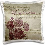 Produktbild: PS Inspirations - Life Can be a Dream Musical Floral - 16x16 inch Pillow Case (pc_178987_1)