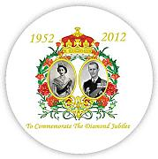 QUEENS DIAMOND JUBILEE 2012 Pinback, pin-button (58 mm), Geschenkidee