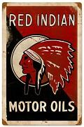 Produktbild: Red Indian Motor Oil Vintage Metal Sign Car Auto Garage 12 X 18 Steel Not Tin by The Vintage Sign Store