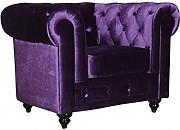Sessel fester Chesterfield Elite Velours violett Needlestripe