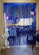 shinybeauty® 3 ftx8ft blau Lametta Folie Fransen Tür Fenster Vorhang Party Dekoration
