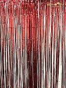 shinybeauty Fuchsia Metallic fransen Vorhang Folie Lametta Room Decor 3 ftx8ft Tür machen, rot, 3FTx8FT