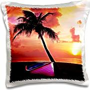 Produktbild: Simone Gatterwe Photo Landscape - A dream beach with sunrise. Under a palm tree stands a pink boat - 16x16 inch Pillow Case (pc_201097_1)
