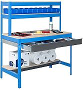 simonrack 448100945127514 Kit BT/1 Box 1200-Set Werkbank blau/Holz