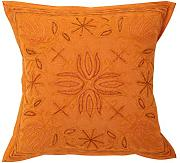 Sofa 40x40 blumen Kissenbezug Wohnzimmer Baumwolle Couch stickerei Zierkissenbezüge Elegant Orange Pillow cover einzeln Traditional Pillowcases By Rajrang