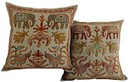 Sofa 40x40 elefant Kissenbezug Wohnzimmer Baumwolle Couch stickerei Zierkissenbezüge Elegant Grau Pillow cover Set 2 Traditional Pillowcases By Rajrang