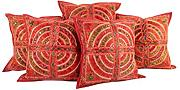 Sofakissen blumen Baumwolle Kissenbezug spiegel Rot Traditional Set 5 pillow case Wohnzimmer 40x40 Indisch Sofa Pillowcases Cushion Cover By Rajrang