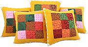 Sofakissen Patchwork Baumwolle Cushion Cover Sofa Bunt Traditional design Zierkissenbezüge Wohnzimmer 43x43 Pillowcases Set 5 Indisch Kissenbezug By Rajrang