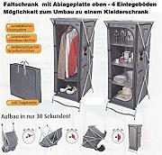 Produktbild: STABIELO - CRESPO - Camping Faltschrank mit 4 Einlageböden + Ablageplatte oben - FARBE GRAU - 57 x 145 x 72 cm - VERTRIEB durch - Holly ® Produkte STABIELO ® - holly-sunshade ® - patentierte Innovationen im Bereich mobiler universeller Sonnenschutz - Made in Germany -