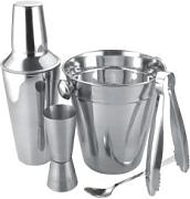Stainless steel Bar set, cocktail set, cocktail shaker with ice bucket tongs and spoon. by Apollo