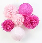 SUNBEAUTY 6er Set Rosa Pink Lampion PomPoms Dekoration