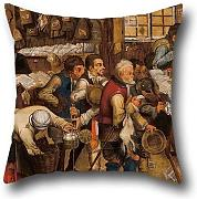 The Oil Painting Pieter BRUEGHEL Ii - The Tax-collector's Office Throw Pillow Covers Of ,18 X 18 Inch / 45 By 45 Cm Decoration,gift For Home Theater,kids Boys,floor,wedding,him,shop (twin Sides)