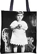 Produktbild: Tote bag with A small girl is holding ball in hands.. . girl cute standing ball holding ball chair play alone . .