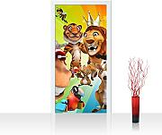 Türtapete selbstklebend 100x211 cm PREMIUM PLUS Tür Fototapete Türposter Türpanel Foto Tapete Bild - SAFARI PARTY ANIMALS - Kinderzimmer Kindertapete Zoo Tiere Safari Comic Party Dschungel - no. 088