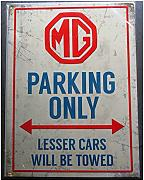 Unbekannt – Platte MG PARKING ONLY Deco Garage Auto Englische Bar Loft