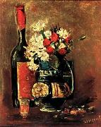 Vase With Carnations And Roses And A Bottle 1886 A4 10x8 Photo Print Poster