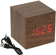 Produktbild: Voice Control Cube Usb/aaa Wood Wooden LED Alarm Digital Desk Clock Thermometer (Brown LED Red) by Alarm Clocks