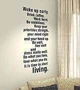Produktbild: Wake up early.Drink coffee.Work hard.Be ambitious.Keep your priorites straights...It is time to living. - Life Kids Home Love Quote wall vinyl decals stickers Art Decor DIY by spb87
