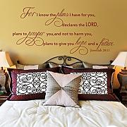 "WallsUp ""For I Know The Plans I Have For You Declares The Lord"" Wandaufkleber, inspirierendes Bibelzitat, englischer Text, Vinyl, braun, 27""hx58""w"