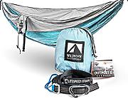 WILDHORN Outfitters Outpost Camping Hängematte mit verstellbarem Litespeed Cinch Schnalle Suspension System, Silver/Light Blue, Doppelbett