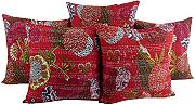 Wohnzimmer 40x40 frucht Kissenhülle Traditional Baumwolle Elegant stickerei pillow case Sofa Rot Cushion Cover Set 5 Indisch Kissenbezüge By Rajrang