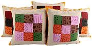 Wohnzimmer 43x43 Patchwork Kissenhülle Traditional Baumwolle Elegant design pillow case Sofa Bunt Cushion Cover Set 5 Indisch Kissenbezüge By Rajrang