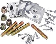 YFYLTD Leg Mounting Plates with Hanger Bolts Screws Adapters for Furniture Sofas Couches Seats, 28 Pieces