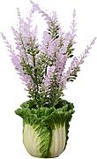 Zhhlaixing Prämie Quality Modern Artificial Potted Plant for Home Decor Lavender Flowers and Chinese Cabbage Resin Vase